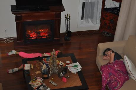 Jet lag kicks in at the Shanghai house, along with heat from the floor and fake fireplace