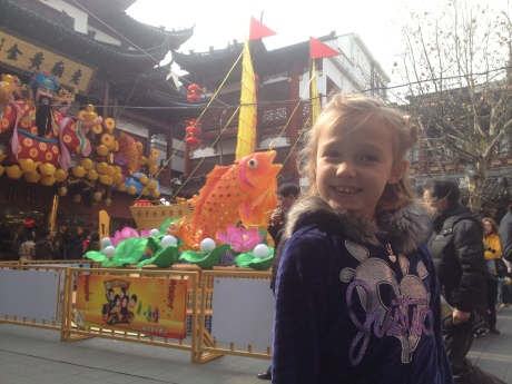 Stephie at Yu Garden on a normally clear and sunny Shanghai day