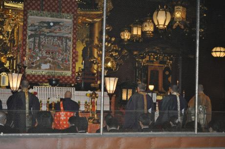 A Buddhist ceremony at the Senso-ji temple.