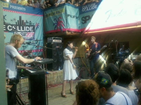 The band Little Dragon rocking the Cedar Street Courtyard at South By Southwest.