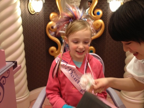 Stephanie getting the princess treatment at the Bibbidi Bobbidi Boutique.