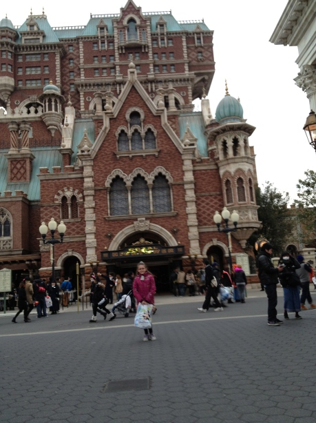 Cassidy and the seriously scary Tower of Terror at DisneySea.