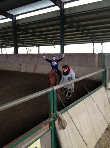Stephanie's first-ever horse riding lesson -- in Shanghai!