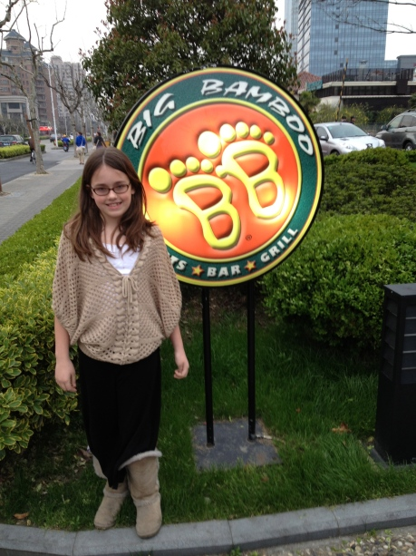 Cassidy outside the Big Bamboo Sports Bar where we watch the Spartans.
