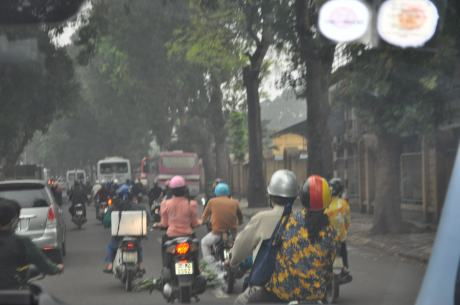 There are scooter and motorbikes everywhere you look on Hanoi roads, and no rules!