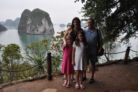 The four of us on a limestone islet with Halong Bay in the background.