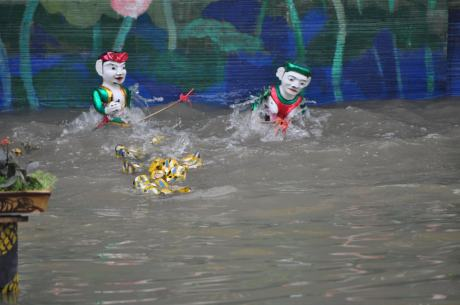 Vietnamese water puppets in action -- they were a little freaky looking.