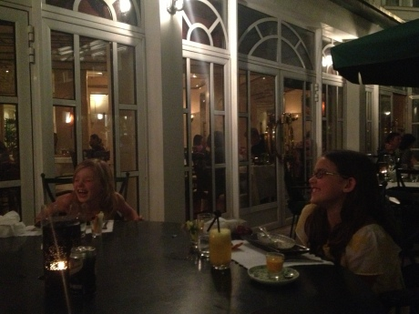 Girls have a laugh at dinner at Spices Garden at the Sofitel Metropole on our last night in Hanoi.