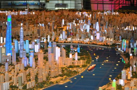 Scale model of Shanghai, looking down the Huangpu River at the financial center in Pudong, toward Puxi.