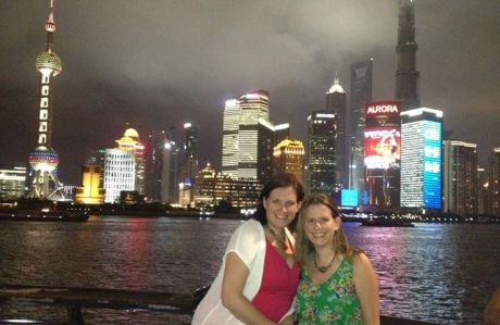 Karen and her sister Casey in front of the actual Shanghai financial district.