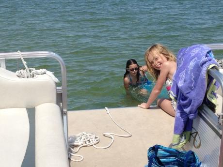 On the Pontoon boat on Lake Leelanau.