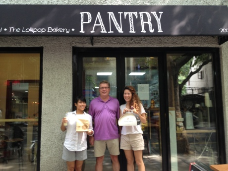 In front to The Pantry with two Western entrepreneurs in China, Christine Asuncion (Spread the Bagel), and Lexie Morris (Lollipop Bakery).