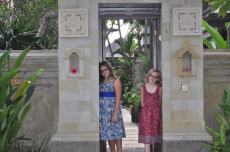 The girls at the outdoor entrance to our villa, Sundara.