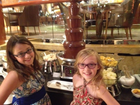 Brunch at Town Restaurant in Singapore, as the girls inch closer to the chocolate fountain.