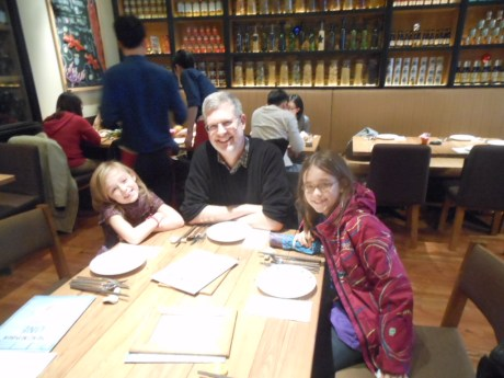 The girls and their Uncle Dennis at one of our favorite brunches in Shanghai, Elefante.