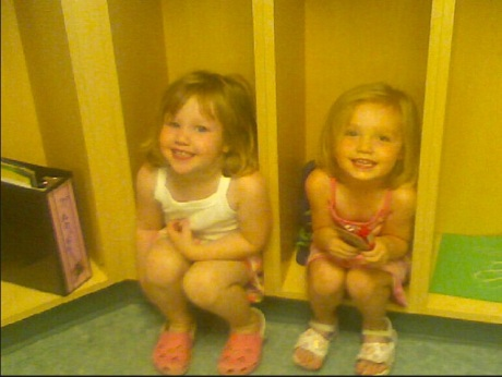 Paige and Stephanie at daycare in Dearborn about 6 years ago