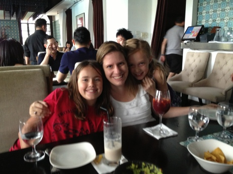 The girls and their Aunt Casey at our favorite brunch locale in Shanghai, Maya Restaurant.