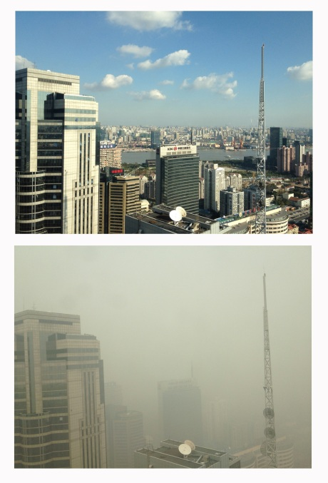 The view from the Ford offices in downtown Pudong about a month ago.  Below, the view a couple of weeks ago.