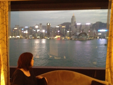 Karen and the view of Hong Kong from our room