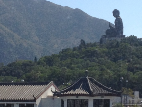 The Big Buddha comes into view from our gondola, high above Ngong Ping Plateau in Hong Kong.  It's the biggest seated bronze Buddha statue in the world.