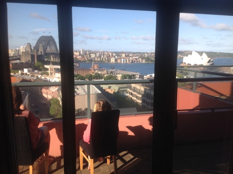Karen and Stephanie on our balcony overlooking Sydney Harbor