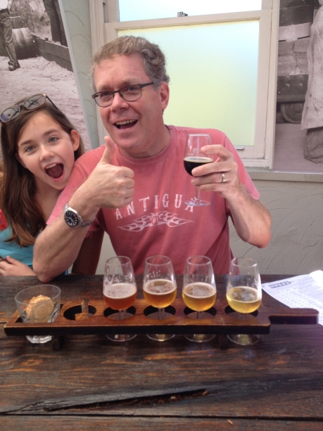 Tasting some really good Australian microbrews and getting photo-bombed by my oldest daughter