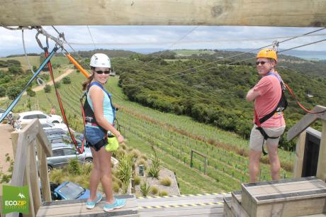 Down the mountain -- and over one of the many vineyards on Waiheke -- we go!