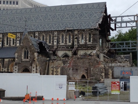 The earthquake damaged cathedral in Christshurch