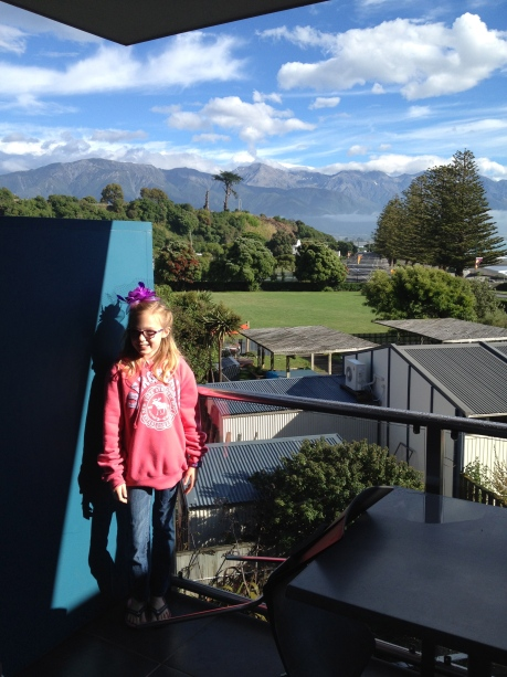 Steph and the view from our Kaikoura apartment