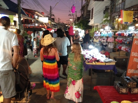 The girls roaming the Fisherman's Village Night Market on Samui, Thailand.