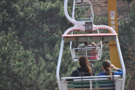 Up we go to the Great Wall via chairlift, with Jenn and Cassidy in front of me and Karen and Stephanie in front of them
