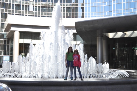The girls in front of the fountain at the oh so comfortable Beijing Grand Hyatt