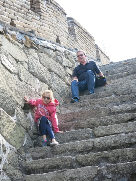 Stephie and I taking a rest after some serious climbing on the Great Wall