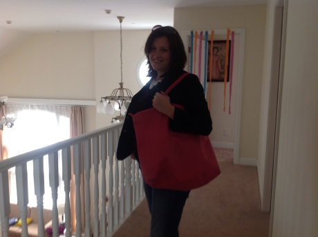 Karen and her newest Longchamp bag
