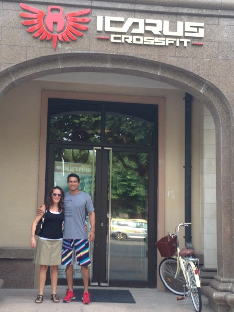 My friend Carmen with one of Icarus Crossfit's owners, Iosif.