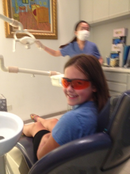 Cassidy in the dental chair at Pure Smile.