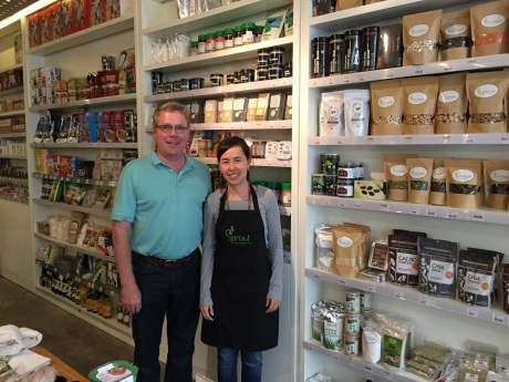 With Kimberly Ashton at her Sprout Lifestyle store and its amazing wall of super foods.
