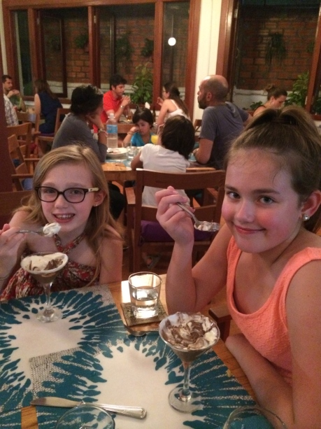 Girls enjoying dessert at Genevieve's in Siem Reap.