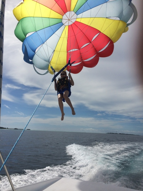 Cassidy coming in for a landing on the boat after first time ever parasailing!
