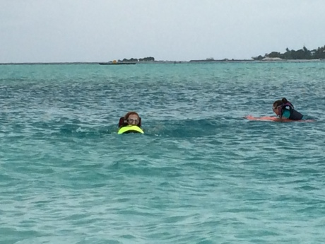 The girls on their Sea Bobs heading out into the lagoon.