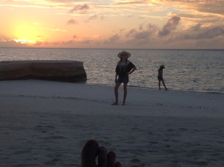 Girls at sunset in paradise.