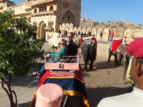 Stephanie and I on an Elephant going up to the Amber Fort.