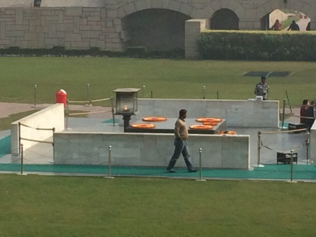 The beautiful Raj Ghat memorial to Mahatma Ghandi.
