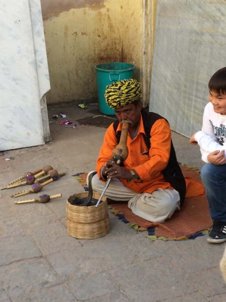 A snake charmer doing his thing in India.
