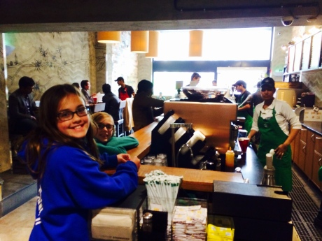 Quite possibly my favorite picture of the girls, waiting for hot chocolate at Delhi's first Starbucks.