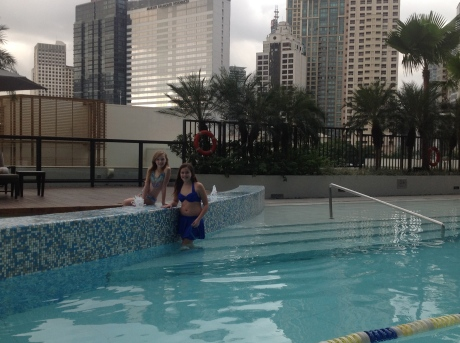 Girls in the pool at Manila Fairmont.