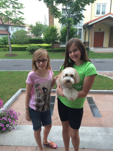 The girls take delivery of Gabby after grooming.