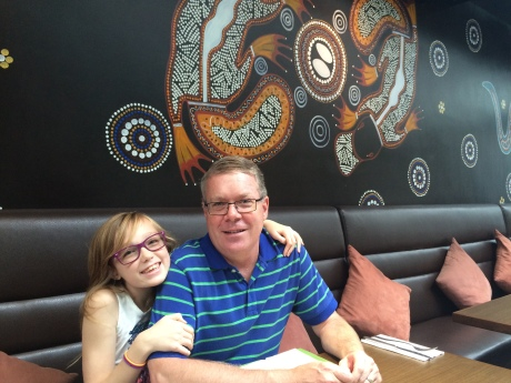 Steph and I at Kakadu, which serves excellent Australian cuisine and has cool Aboriginal art on the walls.