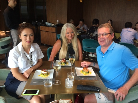 Friends Christina, Heather and I having lunch at 1921 Gucci Cafe shortly after its opening.