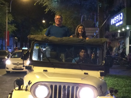 Cassidy and I on a nightime Jeep tour of Saigon.